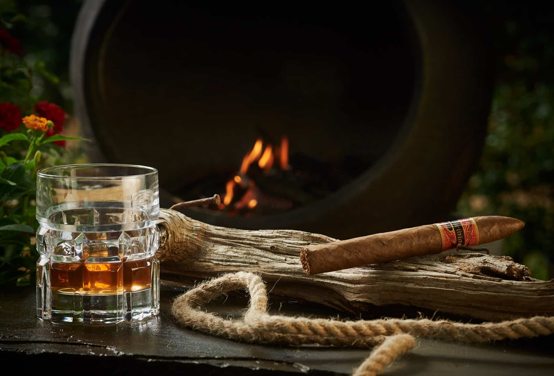 Bourbon and a cigar on a log in front of a fire.