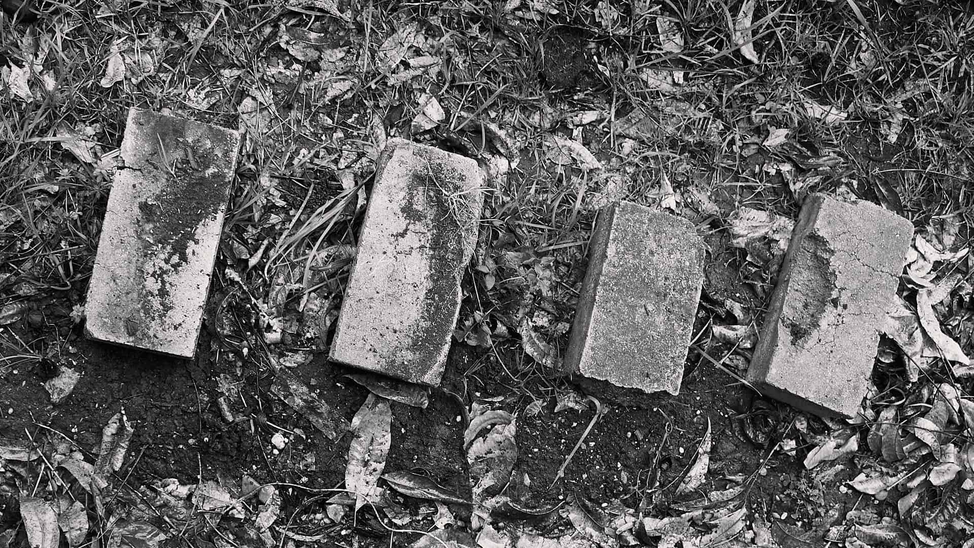 4 old bricks laying on the ground