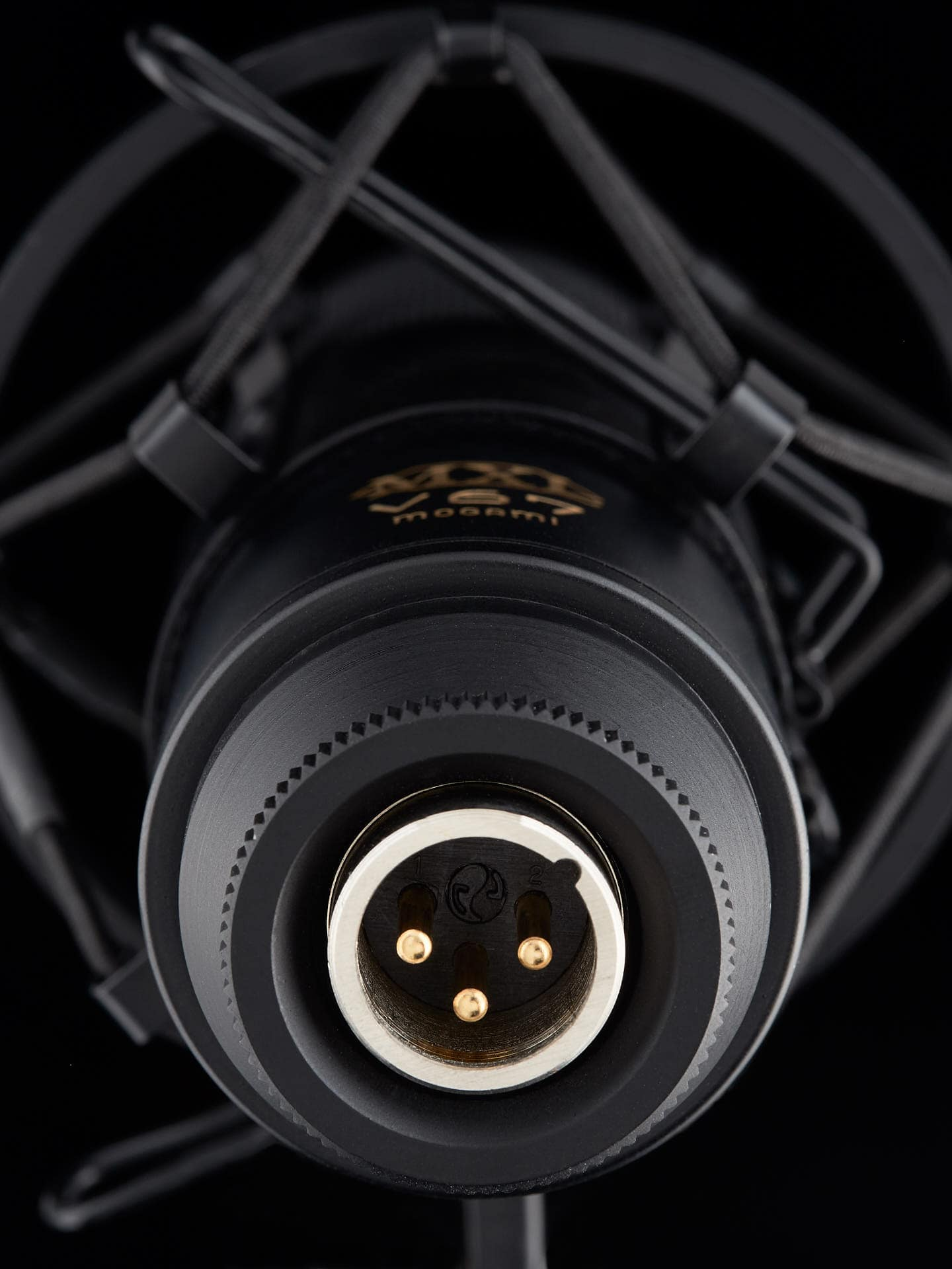 Closeup of the plug for a Mogami microphone.