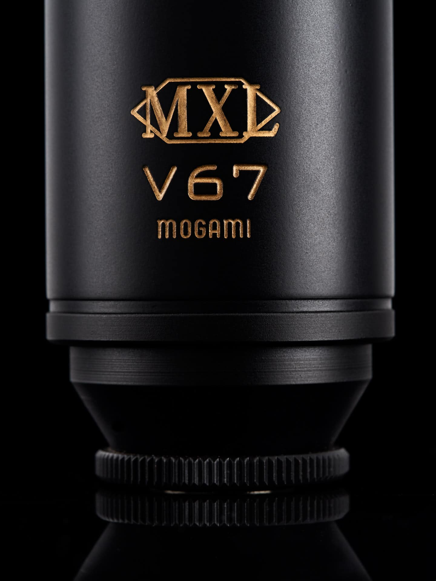 Closeup of a Mogami microphone.