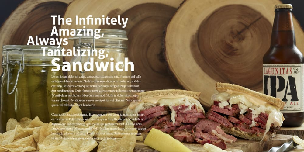 Sandwich ad with text on left side of ad.