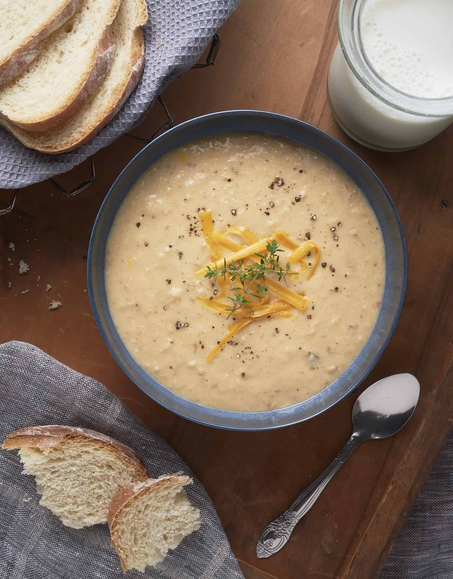 Cauliflower Soup with bread and milk.
